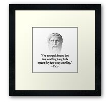 Quote By Plato Framed Print