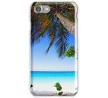 Leaning Palm Tree on a Tropical Beach iPhone Case/Skin