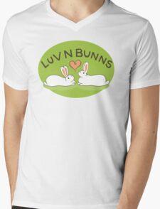 Hippity Hop - Green Bunny Design Mens V-Neck T-Shirt