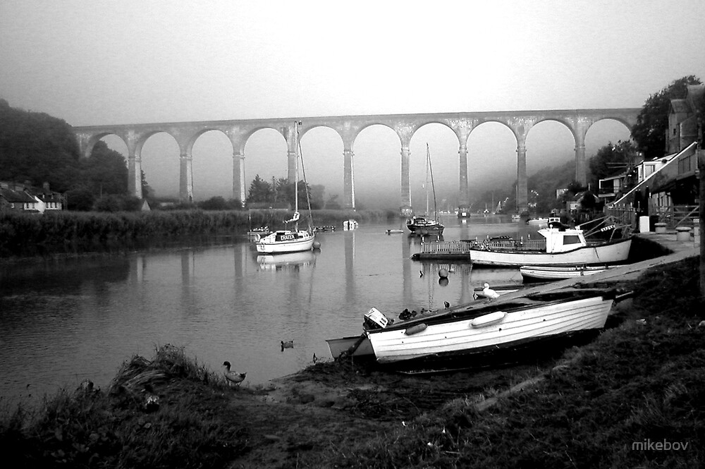 Misty Morning at Calstock b&w by mikebov