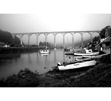 Misty Morning at Calstock b&w Photographic Print