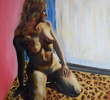Another Nude on a faux leopard skin couch by Christopher  Raggatt