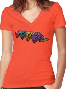 Zebrapotamus V.02 Women's Fitted V-Neck T-Shirt