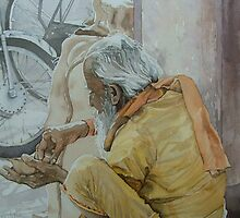 Old Man, Jaipur India $230 AUD by Lesley  Coverdale