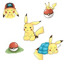 Pikachu Stickers by SamachiiChan