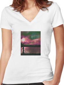 Yoga by the lake Women's Fitted V-Neck T-Shirt