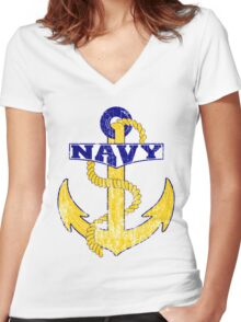 Vintage NAVY Anchor - Fathers Day Gift!  Women's Fitted V-Neck T-Shirt