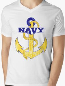 Vintage NAVY Anchor - Fathers Day Gift!  Mens V-Neck T-Shirt