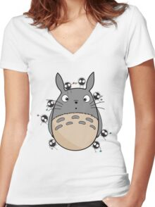 Little Totoro Women's Fitted V-Neck T-Shirt