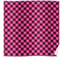 Pink and Black Diagonal Plaid Tartan Poster