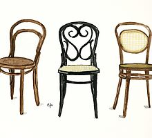 Thonet Chairs - Watercolor Painting by Eugenia Alvarez