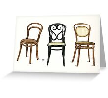 Thonet Chairs - Watercolor Painting Greeting Card