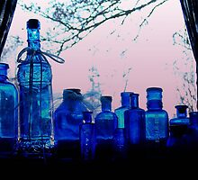 Blue Bottles in a Window by Bob Spath