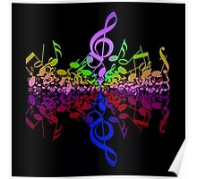 Nothin' But Treble Rainbow Music Notes Poster