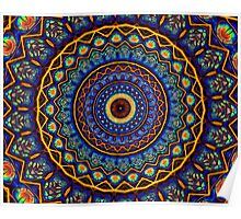 Kaleidoscope 4 abstract stained glass mandala pattern Poster