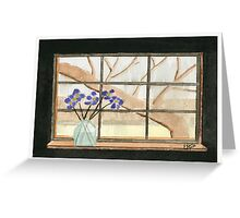 Window On A Rainy Day - Watercolor Painting Greeting Card