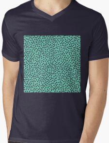 Classic baby polka dots in blue green. Mens V-Neck T-Shirt