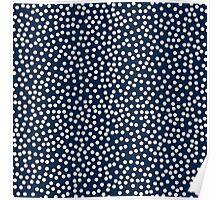 Classic baby polka dots in dark blue navy. Poster