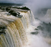 Iguassu Falls - Devils Throat aerial view - Brazilian side by Derek  Rogers