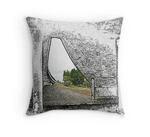 Under the Freeway (2) - Sliver of Green Throw Pillow