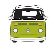 Late Bay VW Camper Green Front by splashgti