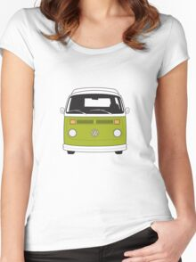 Late Bay VW Camper Green Front Women's Fitted Scoop T-Shirt