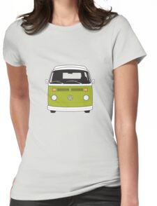 Late Bay VW Camper Green Front Womens Fitted T-Shirt