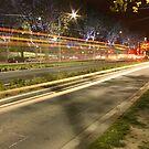Night tram, St Kilda Rd by Ian Stevenson