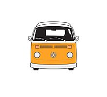 Late Bay VW Camper Orange Front Photographic Print