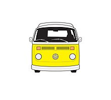 Late Bay VW Camper Yellow Front Photographic Print
