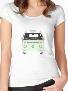 Late Bay VW Camper Pale Green Front Women's Fitted Scoop T-Shirt