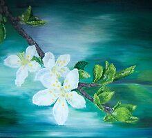 Apple blossoms by ghostwheelart