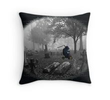 Foggy Morning Adventure Throw Pillow