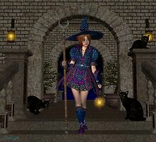 April .. Warrior witch with her black cats by LoneAngel
