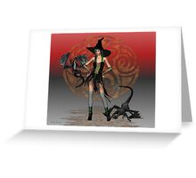 June .. A Witch with two dragons Greeting Card