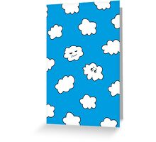 Blue Sky Happy Funny Clouds  Greeting Card
