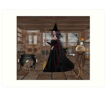 November .. A Witch in her spell shop  Art Print