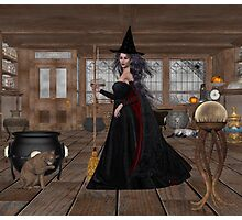 November .. A Witch in her spell shop  Photographic Print