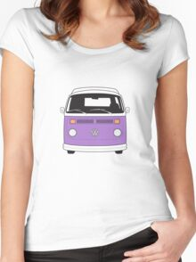 Late Bay VW Camper Purple Front Women's Fitted Scoop T-Shirt