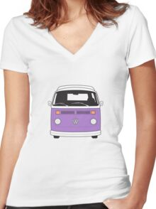 Late Bay VW Camper Purple Front Women's Fitted V-Neck T-Shirt