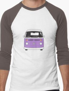 Late Bay VW Camper Purple Front Men's Baseball ¾ T-Shirt