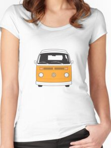 Late Bay VW Camper Orange Front Women's Fitted Scoop T-Shirt