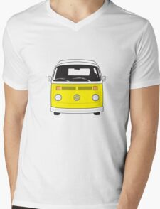Late Bay VW Camper Yellow Front Mens V-Neck T-Shirt