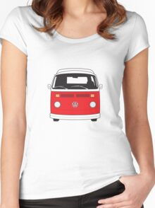 Late Bay VW Camper Red Front Women's Fitted Scoop T-Shirt