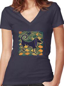 DOG KITCHEN CERAMIC TILES FLOOR Women's Fitted V-Neck T-Shirt