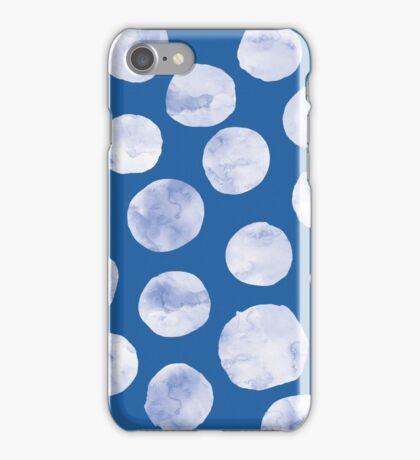 Polka Dot   White on Blue iPhone Case/Skin