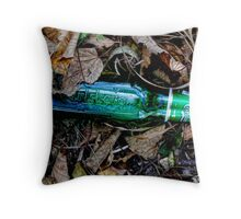 Bottle of beer with in the leaves. ( man made and Nature series) Throw Pillow