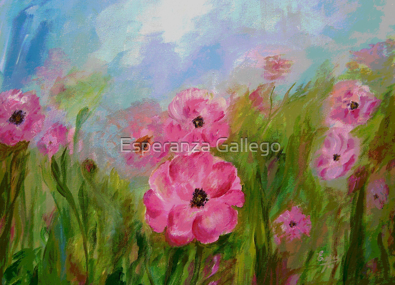 Field of flowers, Acrylic painting by Esperanza Gallego