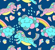 Vector seamless pattern with the unicorns, clouds and rainbow by julkapulka