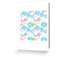 Vector seamless pattern with the unicorns, clouds and rainbow Greeting Card